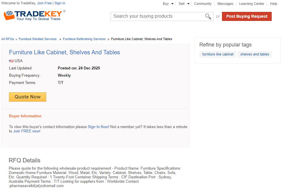 해외 박람회 참가 팁 바이어 발굴 사이트 tradekey의 기업정보 페이지