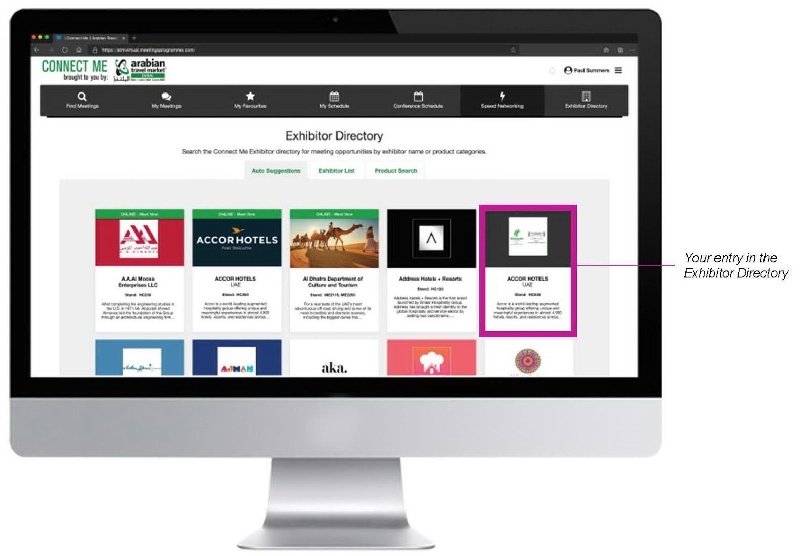 참가기업을 리스트로 제공하고 각 박스는 브랜드 페이지로 연결되는 형태의 온라인 전시회 출처 독일 FIBO 국제피트니스박람회